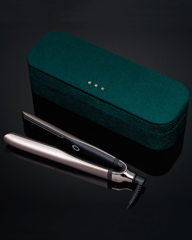 ghd platinum+ in warm pewter with emerald green vanity case