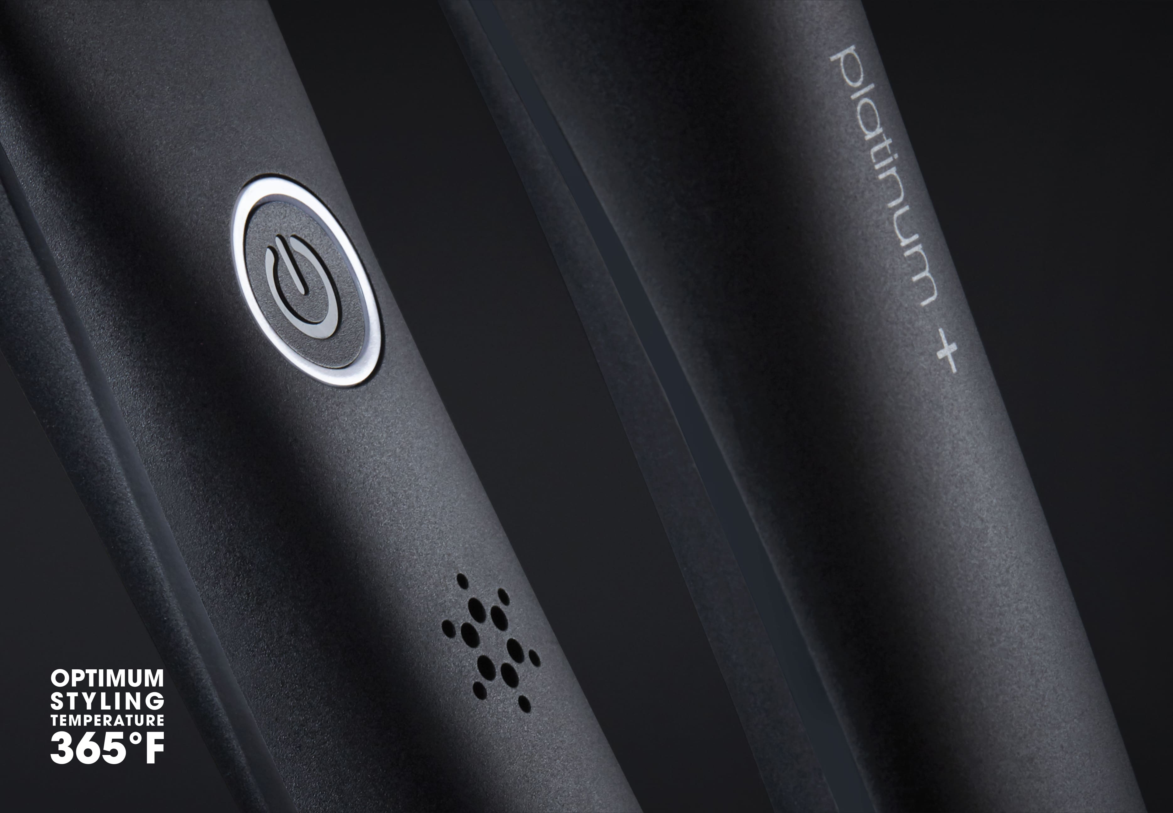 ghd one inch platinum plus styler in black button close-up
