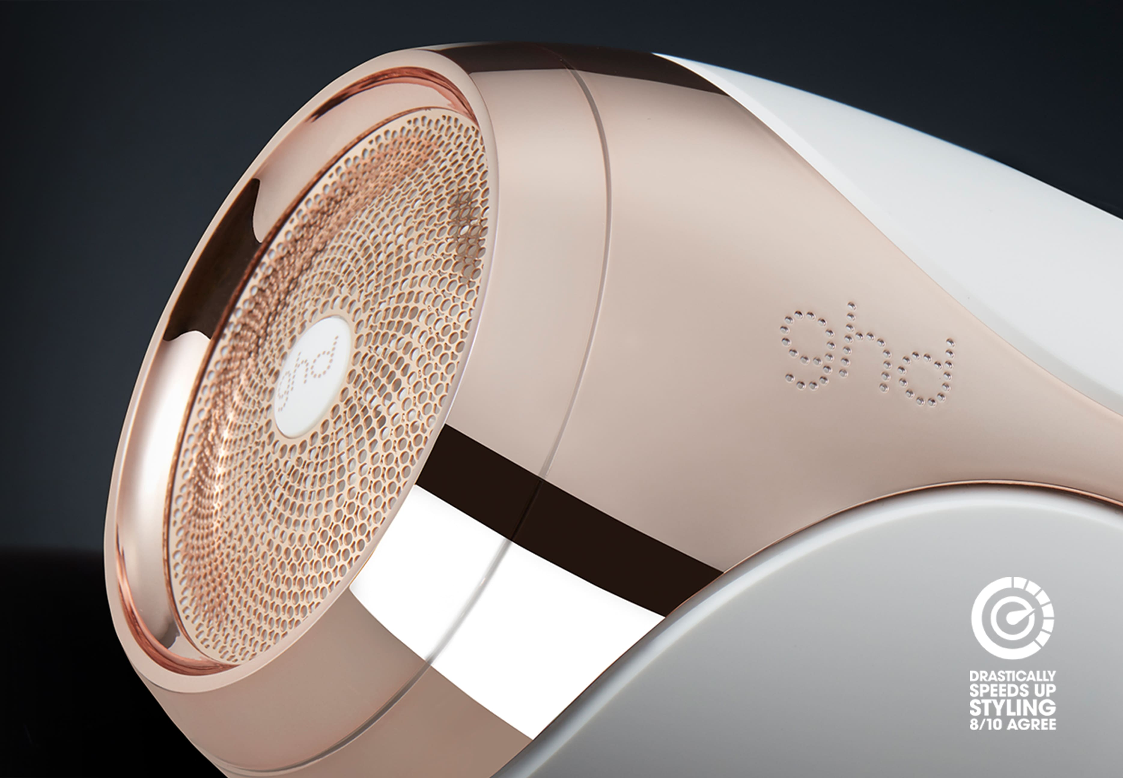 ghd helios hair dryer in white filter close-up
