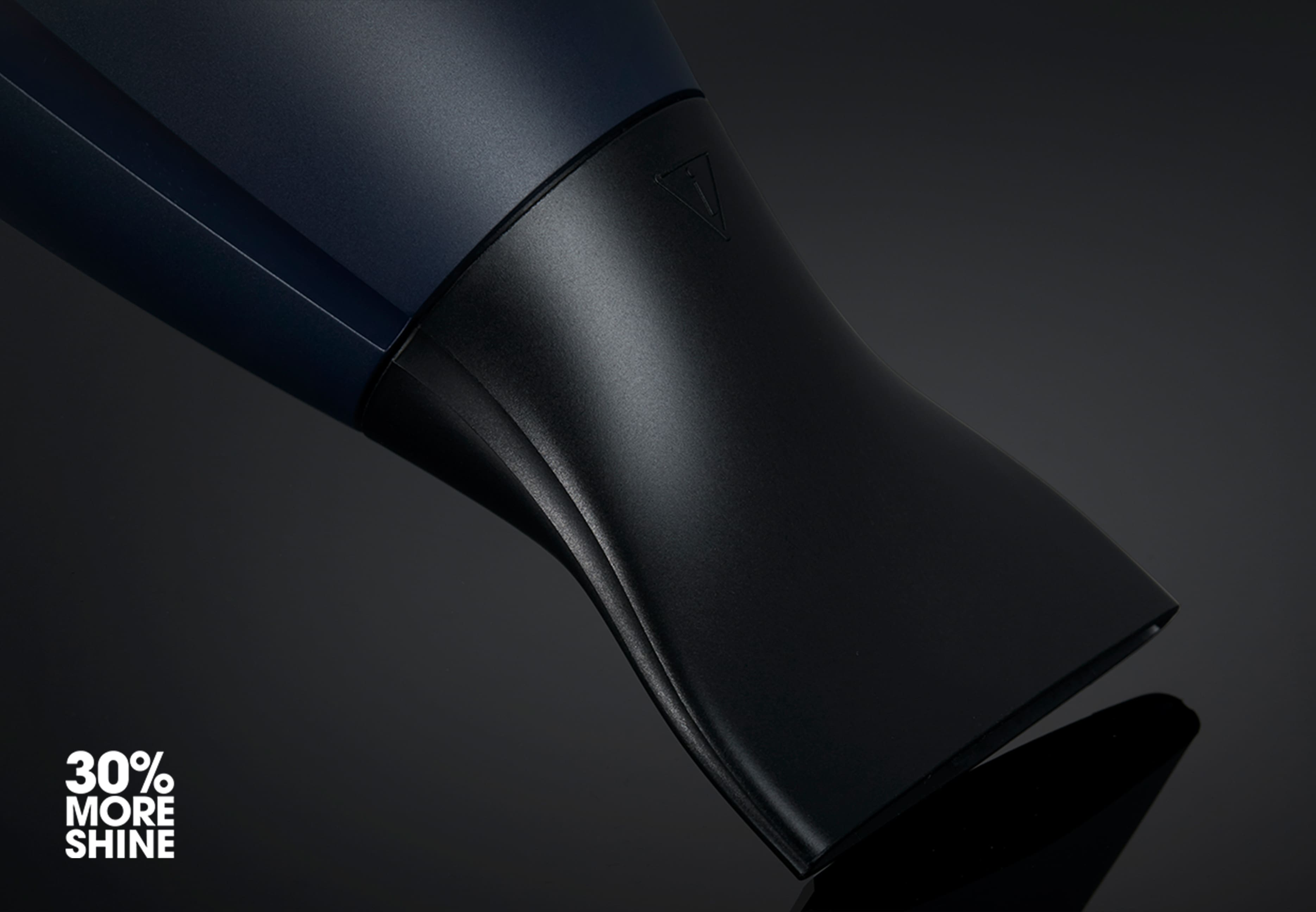 ghd helios hair dryer in navy nozzle close-up
