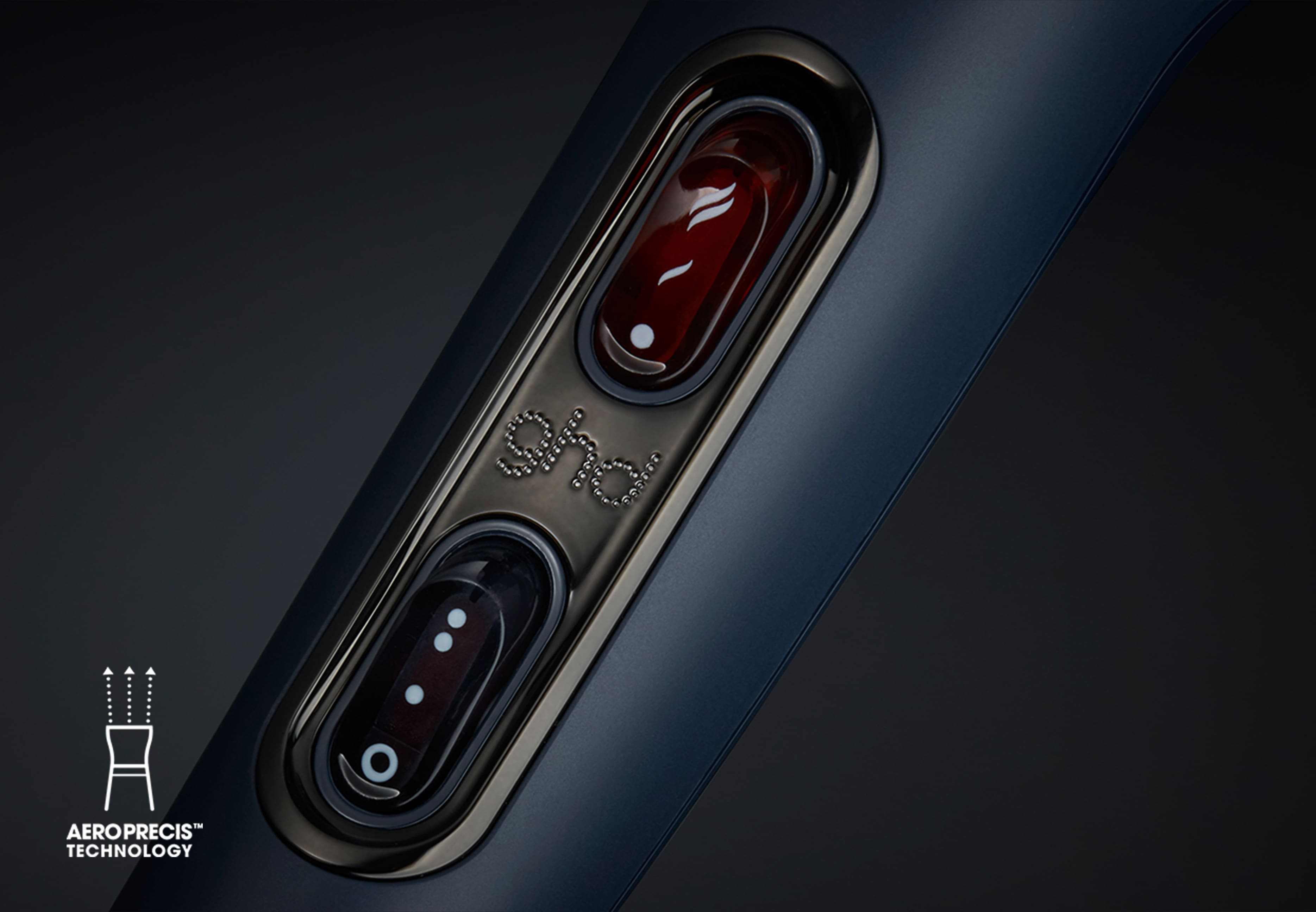 ghd helios hair dryer in navy button close-up