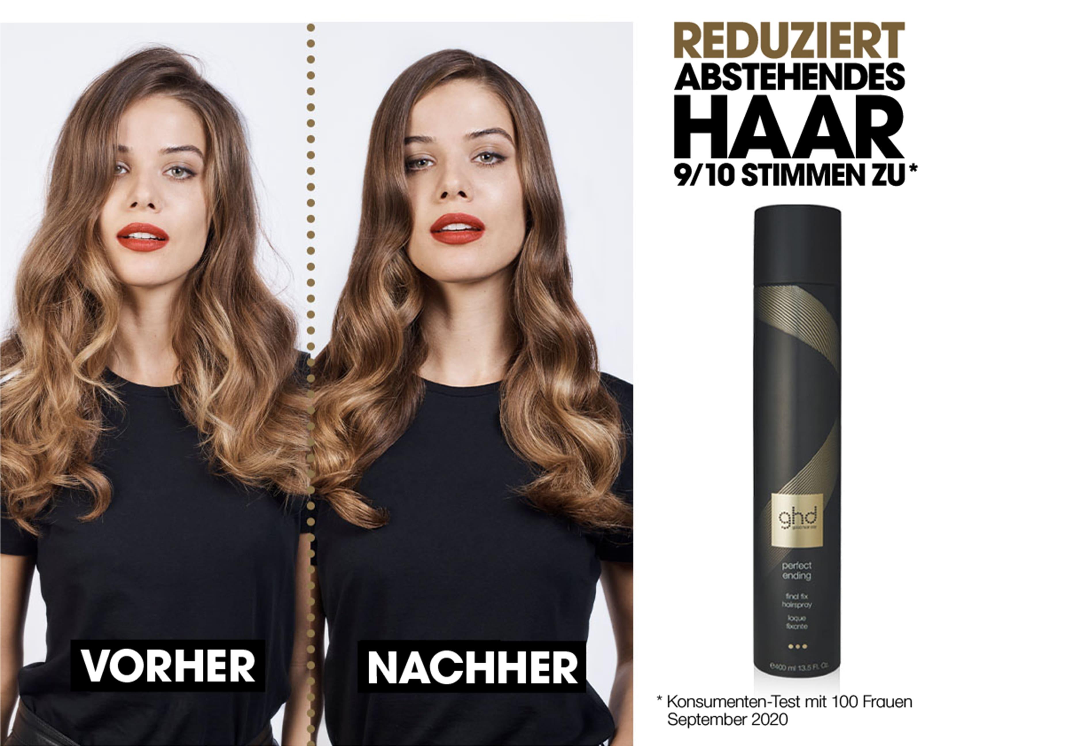 ghd perfect ending Haarspray Vorher Nachher Effekt